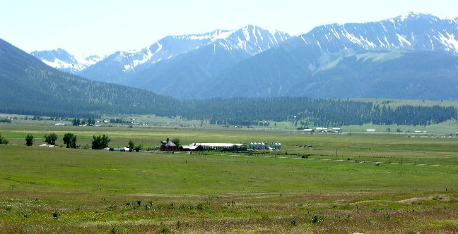 view over farmland in Joseph, OR
