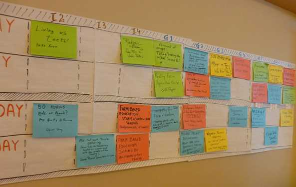 Participants could create and attend open space sessions on a variety of topics