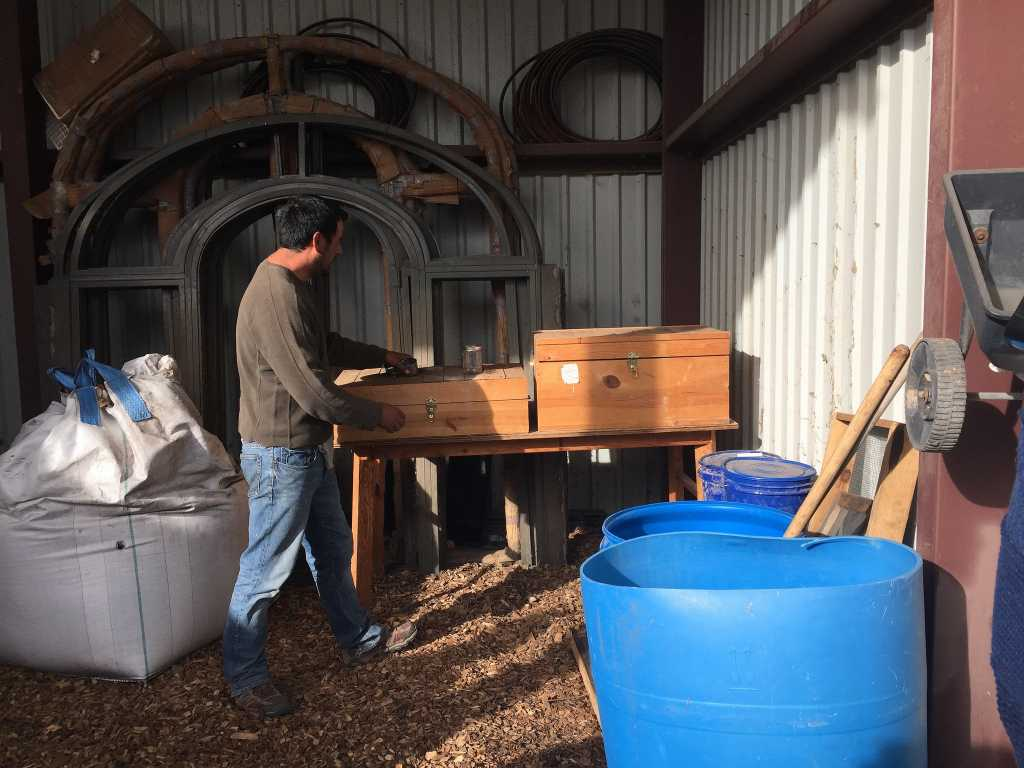 Cesar Barrioneuvo explains the preparation storage at Abiquiu Valley Farm