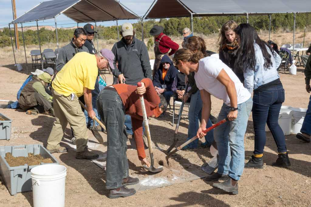 Making biodynamic tree paste at the Tesuque Pueblo