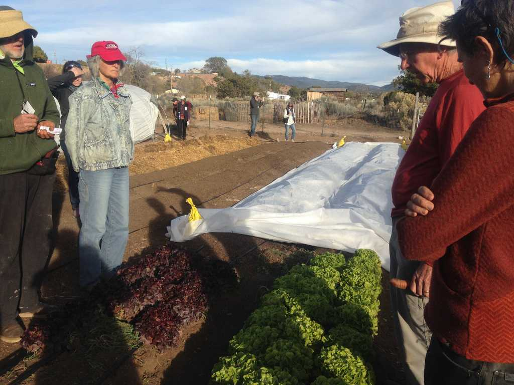 Sam Hitt demonstrates examples of season extension including cold frames and tunnels, intensively grown vegetables in raised and in-ground beds, a wide variety of succulent plants, and the compost system during field trip to The Succulent Garden