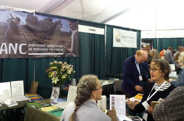 Biodynamic representation in the main conference exhibit tent: BDANC, Demeter USA, SteinerBooks, JPI, and the Biodynamic Association