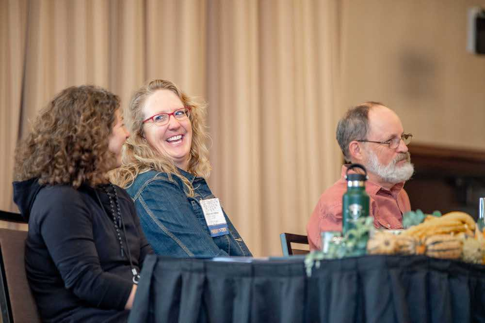"Nadine Basile, Anna Jones-Crabtree, and Wali Via during keynote presentation ""Biodynamics in Practice: Stories of Regeneration"""