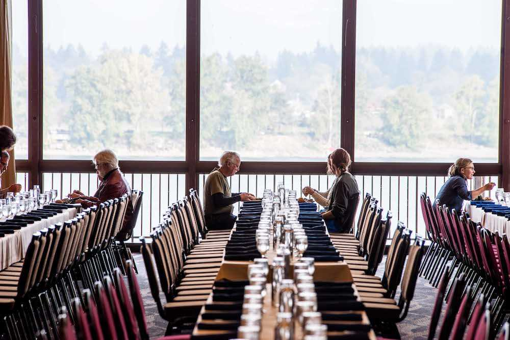 Enjoying views of the Columbia River from the dining room