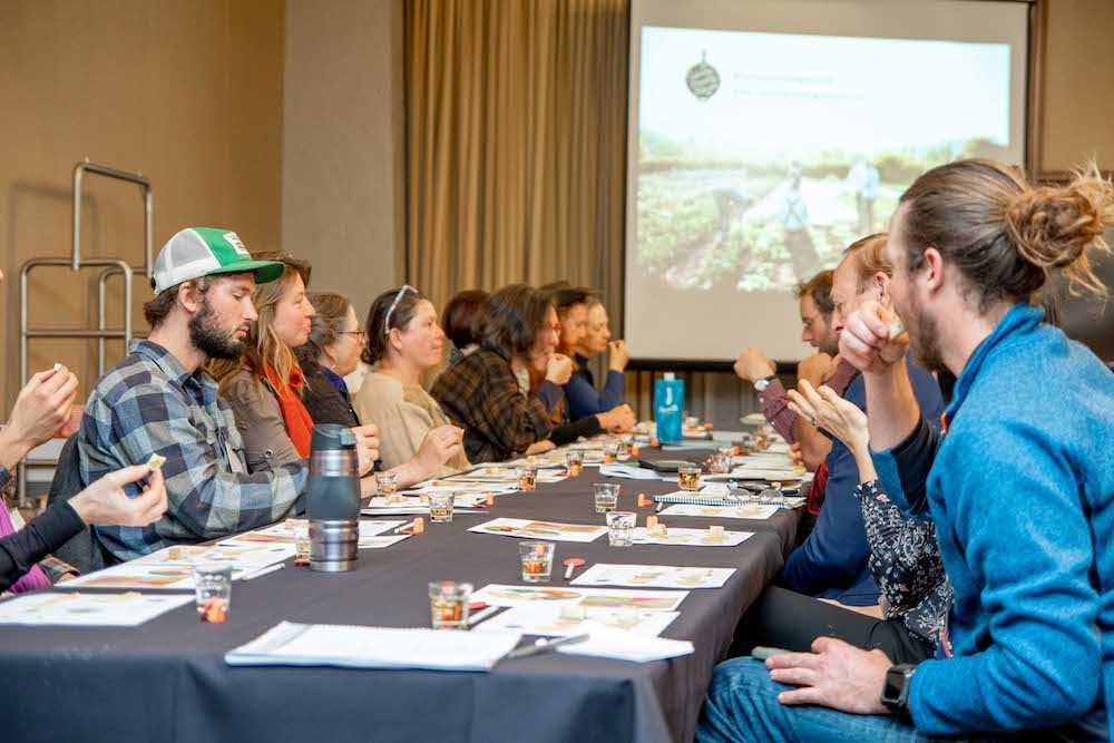 "Tasting session during ""Culinary Breeding Network: Building Community among Plant Breeders, Farmers, Chefs, and Eaters to Create Better Varieties for All"""