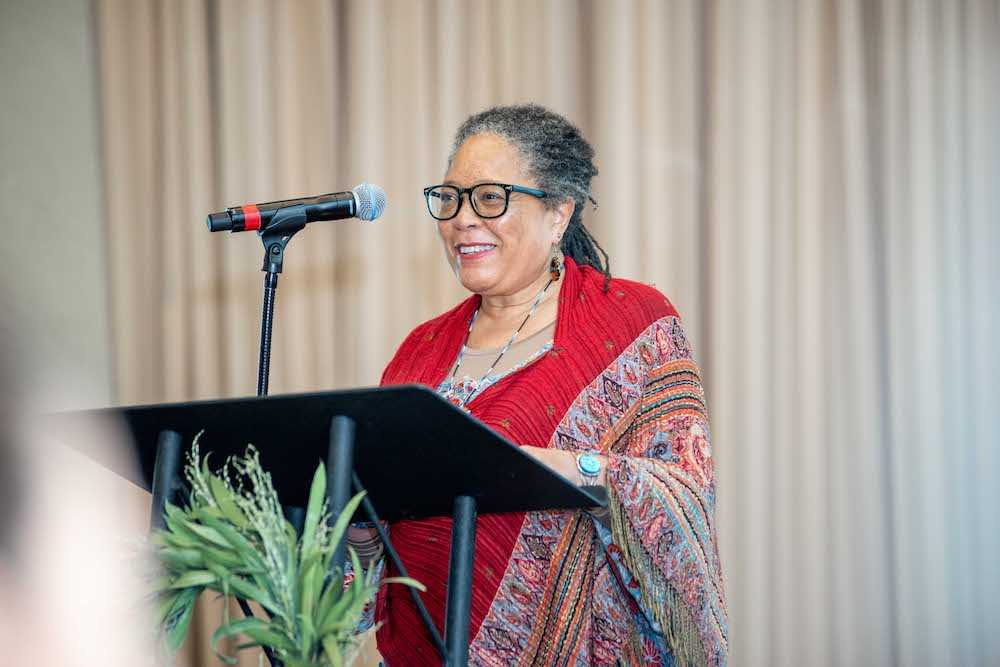"Claudia J. Ford during keynote presentation on ""Biodynamics, Indigeneity, and Social Justice"""