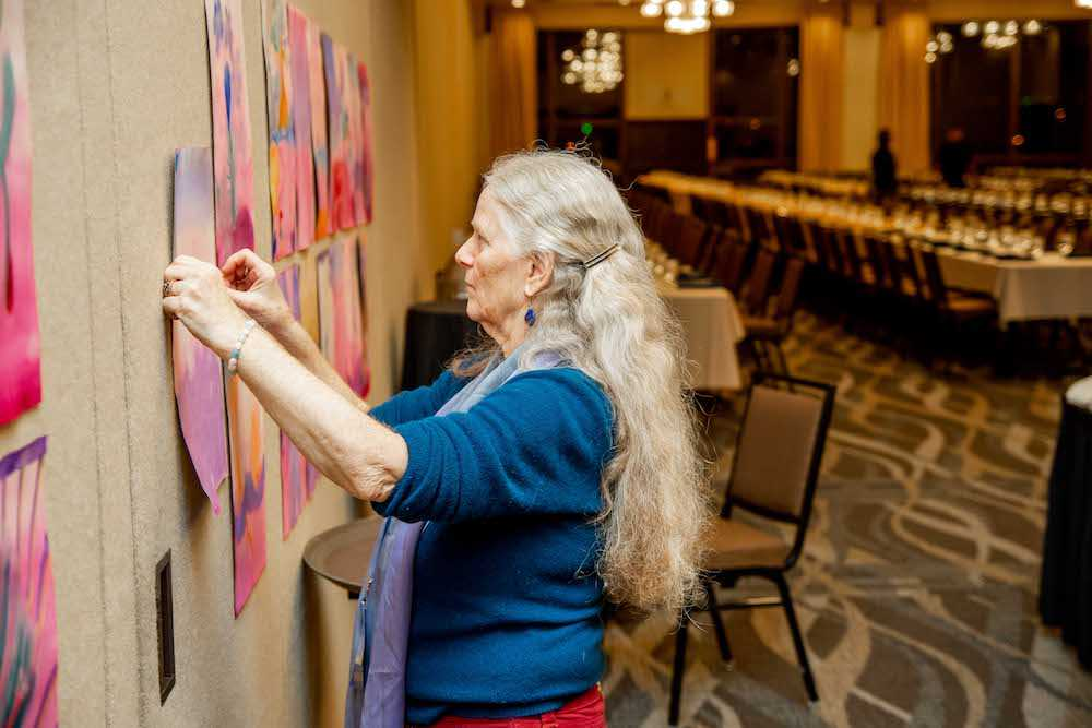 "Displaying artwork created during ""Connecting to Spirit"" with Martha Loving"