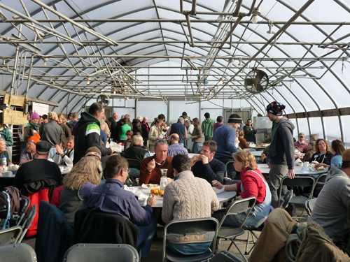 "Enjoying lunch in ""Mini Menards"" greenhouse"