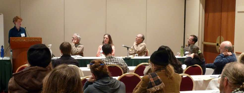 Discussing seeds and breeds with Walter Goldstein, Craig Holdrege, Julie Dawson, Harald Hoven, and Dana Burns